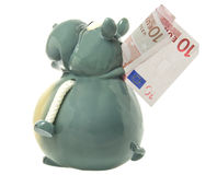 Toy hippo with Euro banknote. Ten Euro banknote embedded in toy hippo model, isolated on white background Royalty Free Stock Photo