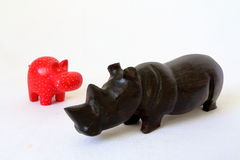 Toy hippo and rhino Royalty Free Stock Photography