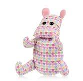 Toy hippopotamus. Cute toy hippopotamus - handmade,  on white background Royalty Free Stock Photo