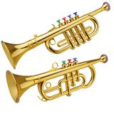Toy horn. On white background stock image