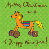 Toy horse greetings card Royalty Free Stock Photo