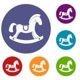 Toy horse icons set Stock Photos