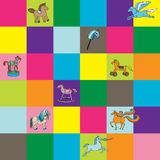 Toy horse kids chess. Seamless pattern with colored tiles and hand drawn illustrations of toy horses for kids Stock Photography
