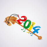 Vector toy horse with new year 2014 riding numbers. Vector wooden toy horse with new year 2014 riding numbers Stock Photo