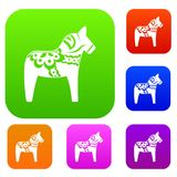 Toy horse set collection Royalty Free Stock Image