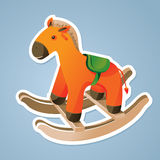 Toy horse sticker. Orange toy horse sticker -  vector illustration Royalty Free Stock Photo