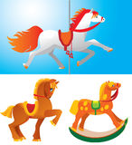 Toy horses. Isolated on white and blue backgrounds Stock Photos