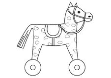 Toy horsy, skewbald on wheels, contours. Toy little skewbald horsy with a saddle on wheels, contours Stock Photography