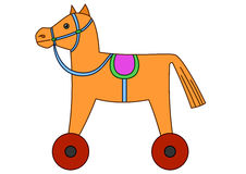 Toy horsy on wheels. Toy little horsy with a saddle on wheels Stock Image