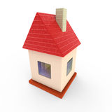 Toy house. Little toy 3d house with glass windows Stock Photo