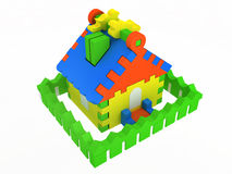 Toy house. Colored toy house isolated on white background Stock Photos