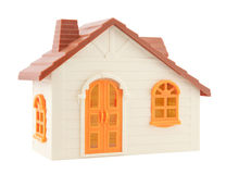 Toy house with clipping path. Orange small toy house with clipping path isolated on white background Royalty Free Stock Images