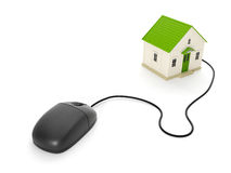 Toy house and a computer mouse. 3d illustration: Back home. The toy house and a computer mouse Royalty Free Stock Photos