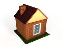 Toy house 3D. Toy house standing on a green lawn on a white background  3D Stock Photography
