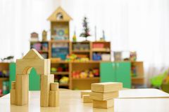 Toy house designer on the table in the children`s room royalty free stock photography