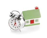 Toy House e despertador Imagens de Stock Royalty Free