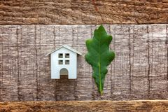 Toy House en groen eiken blad op houten achtergrond Stock Afbeelding