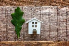 Toy House en groen eiken blad op houten achtergrond Stock Fotografie
