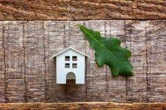 Toy House en groen eiken blad op houten achtergrond Royalty-vrije Stock Afbeeldingen
