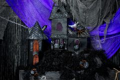 Toy house of the evil sorceress close-up of black Royalty Free Stock Photos