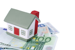 Toy House For Euro Banknotes Royalty Free Stock Photos