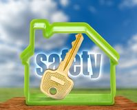 Toy house form and key as symbol Stock Image