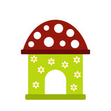 Toy house icon. In flat style  on white background Royalty Free Stock Photos