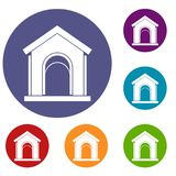 Toy house icons set. In flat circle reb, blue and green color for web Stock Photography