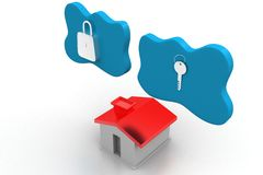 Toy House With Lock And Key In Clouds Royalty Free Stock Photo