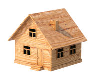 Toy house made of plywood isolated on white Stock Photos