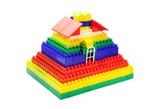 Toy house out of colored blocks Stock Photography