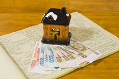 Toy house and Russian money Stock Images