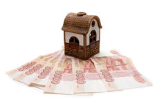 Toy house on Russian rubles Stock Photo