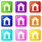 Toy house set 9. Toy house icons of 9 color set isolated vector illustration Royalty Free Stock Photo