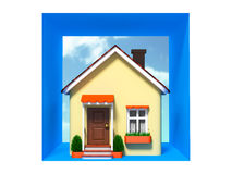 Toy house on sky background in the square Royalty Free Stock Photography