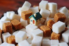 Toy house on sugar cubes. Small toy house stands on cubes of white and brown sugar Stock Images