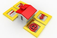 Toy House  Surrounded  By Symbols Royalty Free Stock Photo