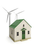 Toy house and windmills Stock Photo