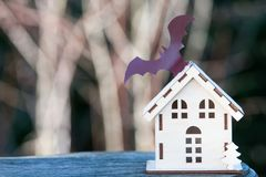 Free Toy House With A Bat, Background For Halloween Royalty Free Stock Photo - 104251985