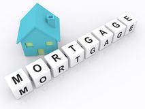Toy house and word cube mortgage Royalty Free Stock Photos