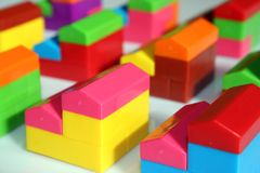 Toy houses. Houses of colorful toy set - colored village Royalty Free Stock Images