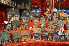 Toy houses in Christmas Market. Toy german houses in Christmas Market in Frankfurt, 2012 Royalty Free Stock Photos