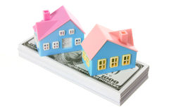 Toy Houses with Dollar Notes Stock Photography