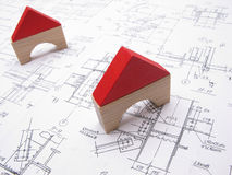 Toy houses and drawings Stock Images