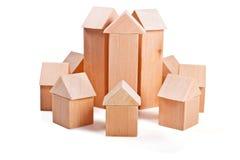 Toy Houses ha fatto dei blocchi di legno Immagine Stock Libera da Diritti