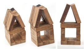 Toy Houses hizo de bloques de madera fotografía de archivo libre de regalías