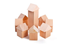 Toy houses made of wooden blocks Stock Images