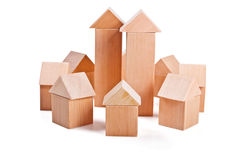 Toy houses made of wooden blocks Royalty Free Stock Photo