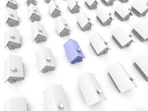 Toy houses - One is blue Stock Images