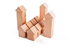 Toy Houses van Houten Blokken wordt gemaakt dat Royalty-vrije Stock Afbeelding